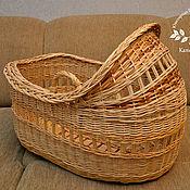 Для дома и интерьера ручной работы. Ярмарка Мастеров - ручная работа Переноска люлька для новорожденного плетеная из ивовой лозы на заказ. Handmade.