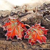 """Украшения ручной работы. Ярмарка Мастеров - ручная работа Серьги """"Кленовые листья — рубиновый букет"""" красные кленовые листья. Handmade."""
