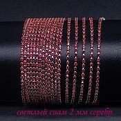 Цепочки ручной работы. Ярмарка Мастеров - ручная работа Стразовая цепь SS6 2 мм Сиам в серебристых цапах 10 см. Handmade.