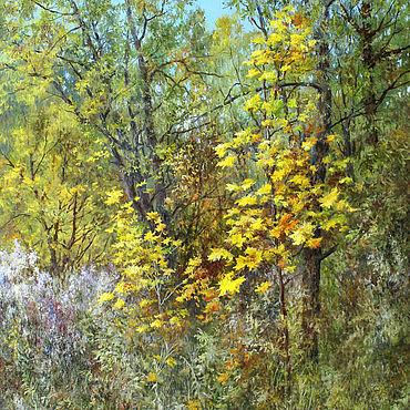 Картины и панно ручной работы. Ярмарка Мастеров - ручная работа Картина - Примеряет лес свой осенний наряд. Handmade.