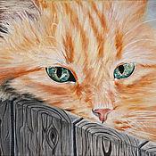 Картины и панно ручной работы. Ярмарка Мастеров - ручная работа Летний отдых рыжего кота  (24 х 30 см). Handmade.