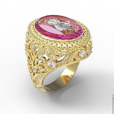 """Украшения ручной работы. Ярмарка Мастеров - ручная работа Золотое кольцо """"Инталия"""" из золота 585, с розовым кварцем инталией. Handmade."""