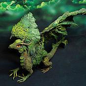 """Для дома и интерьера ручной работы. Ярмарка Мастеров - ручная работа статуэтка """"Дракон леса"""" фигурка лесной дракон зеленый дракончик. Handmade."""