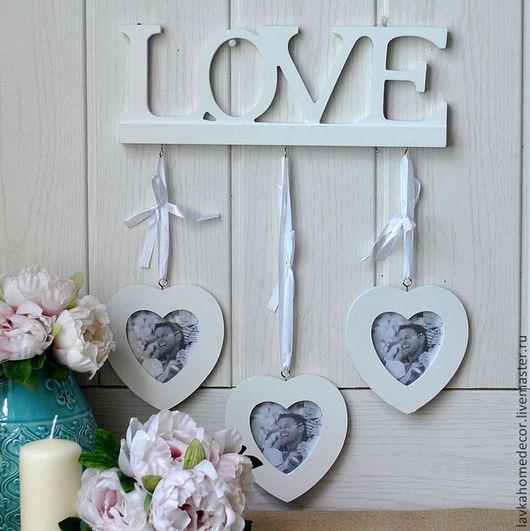 Рама LOVE 3 сердца на лентах 1707