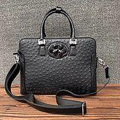 Сумки и аксессуары handmade. Livemaster - original item Men`s bag, made of genuine ostrich leather, in black!. Handmade.