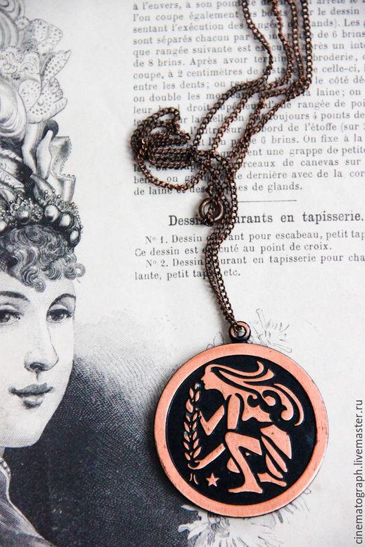 Винтажные украшения. Ярмарка Мастеров - ручная работа. Купить Медальон COPPERCRAFT GUILD винтаж 70-е годы. Handmade. Коричневый