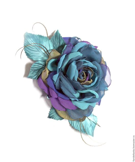 """Цветы ручной работы. Ярмарка Мастеров - ручная работа. Купить Шифоновая роза """"Павлин"""". Цветы из ткани.. Handmade. Роза-брошь"""