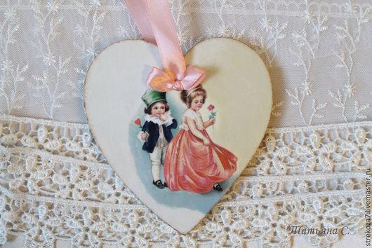Подарки для влюбленных ручной работы. Ярмарка Мастеров - ручная работа. Купить Винтажное сердечко-валентинка. Handmade. Декупаж