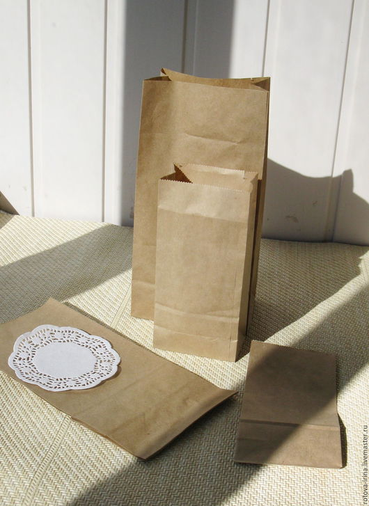 Пакеты упаковочные из крафт бумаги 2х размеров : - 8х5х17см. - 1шт/3,00руб. и                       -12х8х24см.- 1шт./4,50руб.