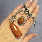 Винтаж ручной работы. Ярмарка Мастеров - ручная работа Подвеска и кольцо с янтарем. Handmade.