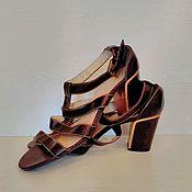 Винтаж ручной работы. Ярмарка Мастеров - ручная работа Босоножки на массивном каблуке в стиле восьмидесятых на 40 размер. Handmade.