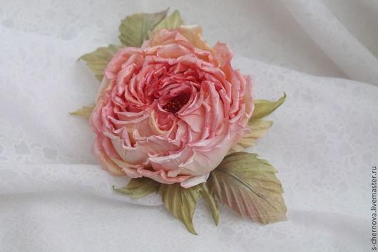 Цветы ручной работы. Ярмарка Мастеров - ручная работа. Купить Роза из  натурального шелка. Handmade. Розовый, брошь роза