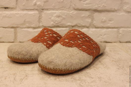 Обувь ручной работы. Ярмарка Мастеров - ручная работа. Купить Тапочки валяные. Handmade. Серый, тапочки из шерсти, тапочки для дома