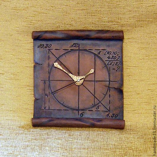 """Часы для дома ручной работы. Ярмарка Мастеров - ручная работа. Купить часы """"свиток"""". Handmade. Коричневый, глина"""
