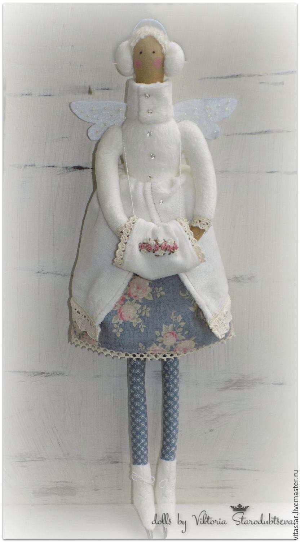 Купить Тильда на коньках. - белый, тильда, на коньках, интерьерная кукла, винтажный стиль, подарок девушке