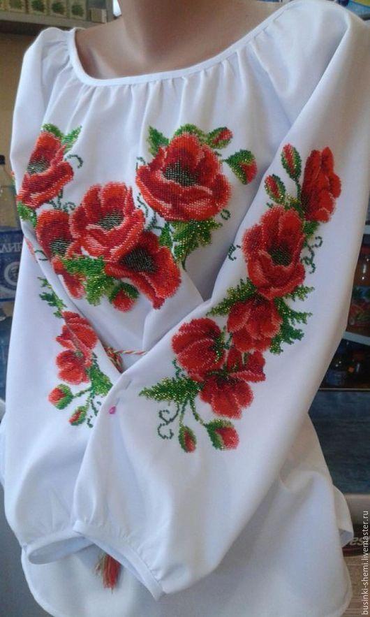 Блузки ручной работы. Ярмарка Мастеров - ручная работа. Купить Вышиванка женская Маки. Handmade. Комбинированный, вышиванка ручной работы
