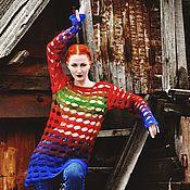 """Одежда ручной работы. Ярмарка Мастеров - ручная работа Свитер """"Яркие полосы - в жизнь!"""" Из кашемира ручной окраски. Handmade."""