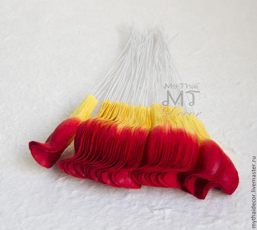 M-45 Лепестки красно-желтые загнутые My Thai Decor. Малбери флористика из Таиланда