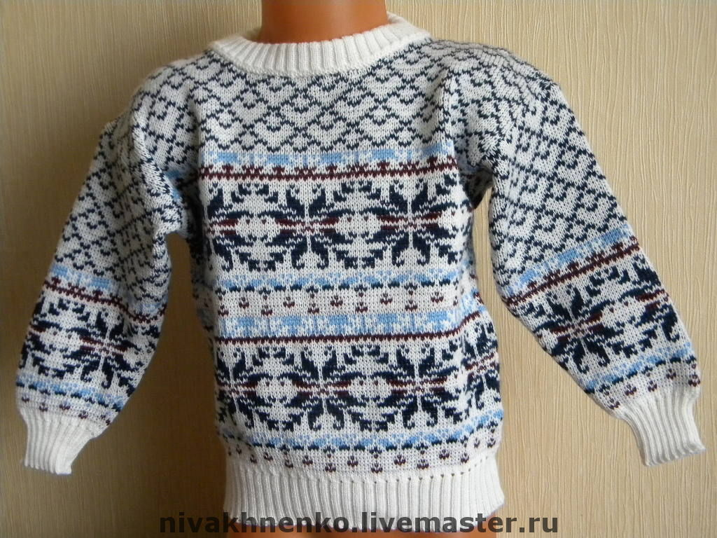 схема вязания свитера для мальчика с оленями рост 140