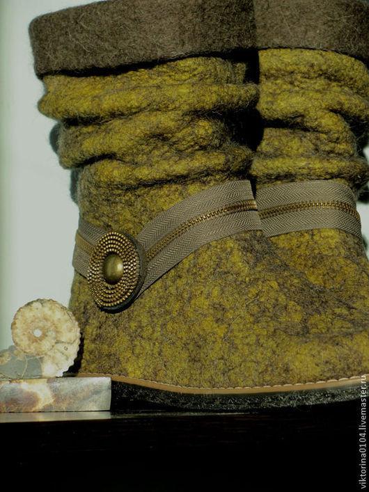 """Обувь ручной работы. Ярмарка Мастеров - ручная работа. Купить Сапожки укороченные """"Горчица"""". Handmade. Валенки ручной работы"""