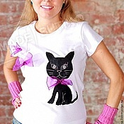 Одежда handmade. Livemaster - original item T-shirt with the author`s application is a Real Pussycat. Handmade.