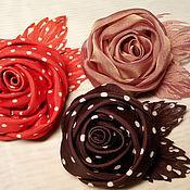 Украшения ручной работы. Ярмарка Мастеров - ручная работа Брошь роза из ткани, с элементами гильоширования. Handmade.