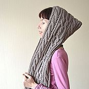 Аксессуары ручной работы. Ярмарка Мастеров - ручная работа Бронза-вязаный шарф-капюшон (башлык, капор). Handmade.