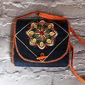 handmade. Livemaster - original item Boho denim handbag with mandala flower. Handmade.