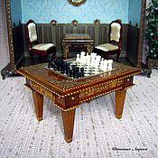 Куклы и игрушки ручной работы. Ярмарка Мастеров - ручная работа Шахматный стол. Миниатюра 1:12. Handmade.