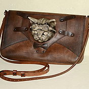 Clutches handmade. Livemaster - original item Steampunk leather bag with cat. Steampunk clutch bag. Steampunk accessory.. Handmade.