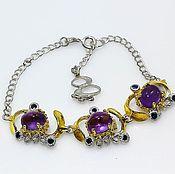 Украшения handmade. Livemaster - original item Silver bracelet with amethyst and sapphire.. Handmade.