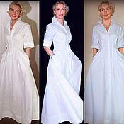 Одежда handmade. Livemaster - original item Cotton shirt dress with full skirt