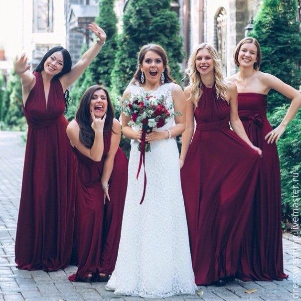 Платья подруг невесты в одном цвете