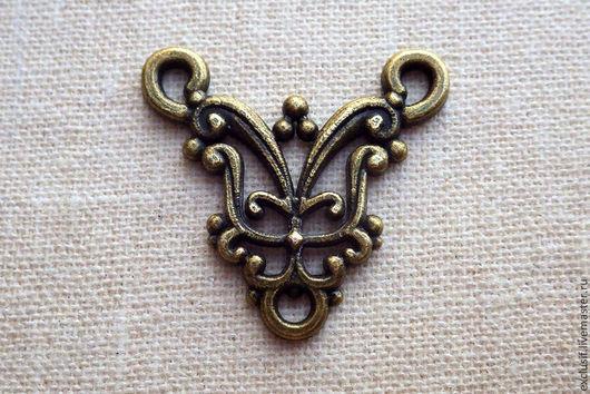 Для украшений ручной работы. Ярмарка Мастеров - ручная работа. Купить Коннектор на три нити (для розария). Цвет античная бронза. Handmade.