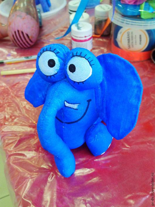 Игрушки животные, ручной работы. Ярмарка Мастеров - ручная работа. Купить Набор для творчества Слон голубой в яблоках. Handmade. Белый