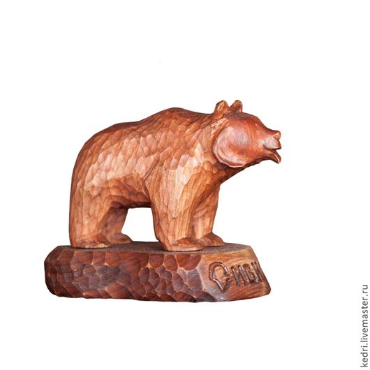Статуэтки ручной работы. Ярмарка Мастеров - ручная работа. Купить Медведь маленький. Handmade. Бордовый, резьба по дереву, русская кукла