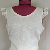 Одежда ручной работы. Ярмарка Мастеров - ручная работа Льняная блузка с кружевом. Handmade.