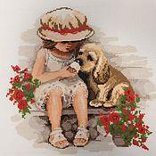 """Картины и панно ручной работы. Ярмарка Мастеров - ручная работа """"Девочка с собачкой"""" вышитая картина. Handmade."""