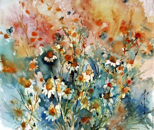 Картины цветов ручной работы. Ярмарка Мастеров - ручная работа. Купить акварель полевые ромашки. Handmade. Оранжевый, цветы, ромашки