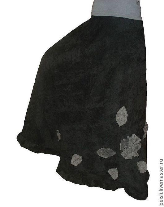 Юбки ручной работы. Ярмарка Мастеров - ручная работа. Купить Юбка длинная вельветовая с запАхом черная. Handmade. Черный