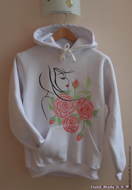 """Спортивная одежда ручной работы. Ярмарка Мастеров - ручная работа. Купить Толстовка женская, с капюшоном , """"Свежесть розы """". Handmade."""