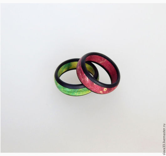 Свадебные украшения ручной работы. Ярмарка Мастеров - ручная работа. Купить Разноцветные обручальные кольца.. Handmade. Разноцветный, обручальные кольца