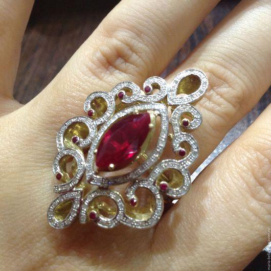 Кольца ручной работы. Ярмарка Мастеров - ручная работа. Купить Fleur. Золотое кольцо с рубинами и бриллиантами. Handmade. Ярко-красный