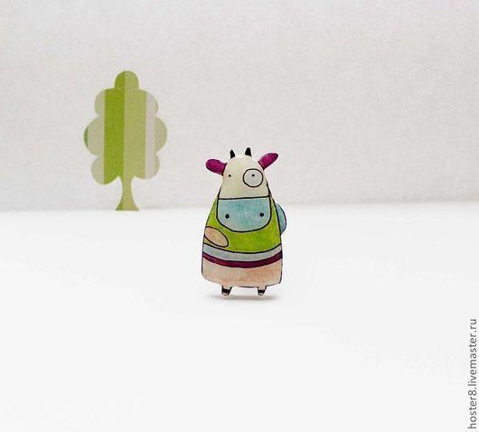 """Броши ручной работы. Ярмарка Мастеров - ручная работа. Купить Брошь """"Милая коровка"""" (0045). Handmade. Салатовый, брошки броши"""
