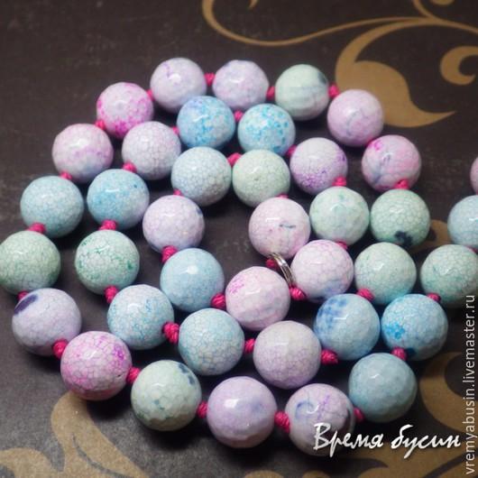 Для украшений ручной работы. Ярмарка Мастеров - ручная работа. Купить 0233. Агат розово-голубой граненый 10 мм. Handmade.