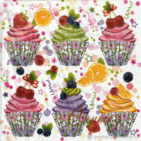 Cupcake with fruit and berries decoupage napkin, Napkins for decoupage, Moscow,  Фото №1