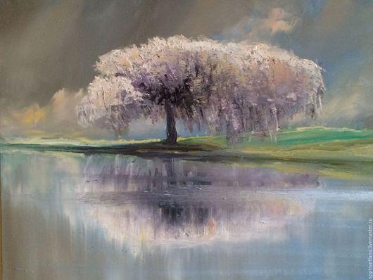 Пейзаж ручной работы. Ярмарка Мастеров - ручная работа. Купить Дерево  с отражением в воде.. Handmade. Бледно-сиреневый, цветущее дерево