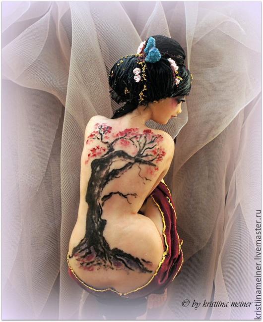 Коллекционные куклы ручной работы. Ярмарка Мастеров - ручная работа. Купить Авторская кукла Сакура. Handmade. Бордовый, единственный экземпляр