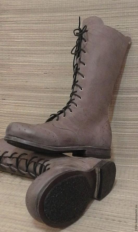 Обувь ручной работы. Ярмарка Мастеров - ручная работа. Купить полусапожки женские MOUSE. Handmade. Серый, обувь ручной работы
