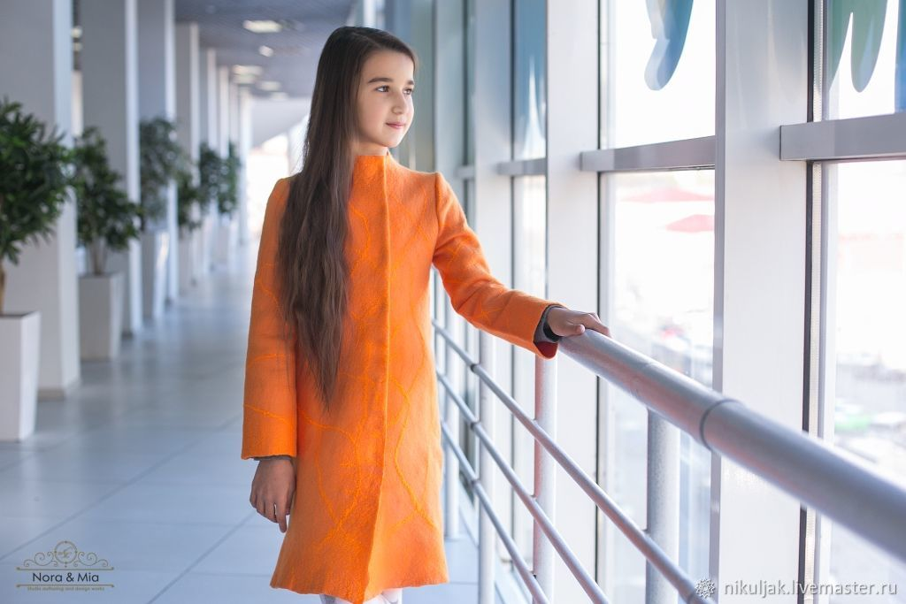 Felted coat for girls Orange, Outer clothing, Dnepropetrovsk,  Фото №1